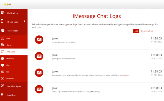 imessage chat logs